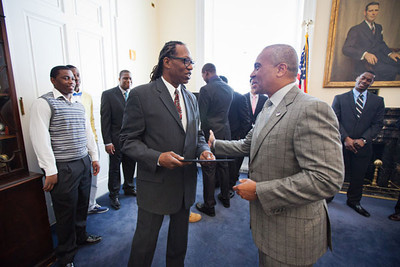 MassBay Director of Athletics, Recreation & Wellness and Head Coach Bill Raynor meets with Governor Patrick.