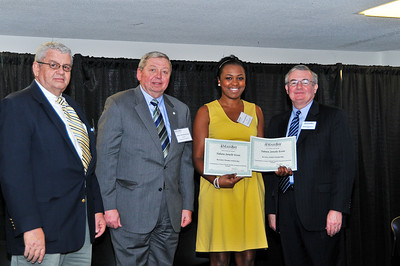 Tabatha Esson, Rosemary Murphy Scholarship Recipient and Re-entry Student Scholarship, with Thomas McKenzie, James J. McKenzie, Esq., Chairman, MassBay Foundation, and President John O'Donnell